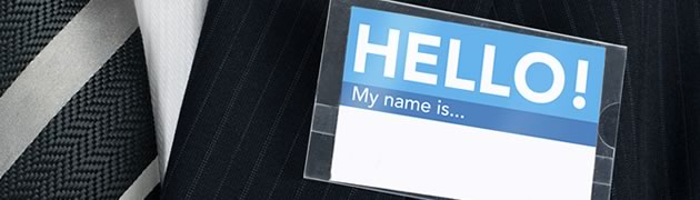 Stock image of name badge